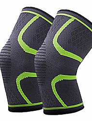 cheap -compression knee braces for men & women, 2 pack knee sleeves support for basketball, running, sports, working out, gym and protector for meniscus tear (medium, green)