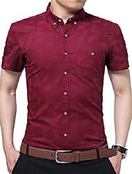 cheap -mens 100% cotton casual slim fit short sleeve button down printed plaid dress shirts (medium, wine red)