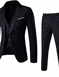 cheap -3-piece blazer jacket men's slim suit coat tuxedo party business wedding party jacket vest & pants (black, xxxl)