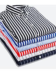 cheap -Men's Shirt Striped Short Sleeve Athleisure Tops Business Basic White Black Blue