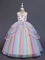 cheap -Kids Little Girls' Dress Unicorn Rainbow Color Block Tulle Dress Flower Party Birthday Layered Tulle Ruffled White Blushing Pink Maxi Sleeveless Princess Sweet Dresses Regular Fit 3-12 Years