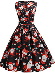cheap -Women's A Line Dress Knee Length Dress Black Red Green Sleeveless Print Print Fall Summer Round Neck Hot Vintage Christmas 2021 S M L XL XXL