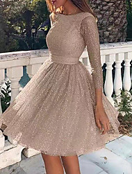 cheap -Women's A-Line Dress Knee Length Dress - Long Sleeve Solid Color Backless Sequins Patchwork Fall Plus Size Hot Sexy Party 2020 Blushing Pink Silver Beige S M L XL