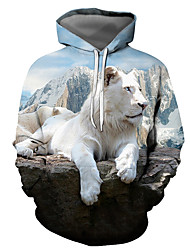 cheap -Men's Pullover Hoodie Sweatshirt Graphic Animal Hooded Daily Going out 3D Print Basic Casual Hoodies Sweatshirts  Long Sleeve White