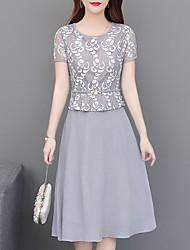 cheap -Women's A-Line Dress Knee Length Dress - Short Sleeve Floral Lace Summer Elegant Casual Slim 2020 Blushing Pink Gray M L XL XXL 3XL 4XL
