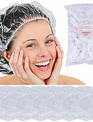 cheap -disposable hair plastic shower cap - & #40;50 & 100 pack& #41; clear women shower caps waterproof bath hat processing hair cover for treatment spa hair salon and home use & #40;50