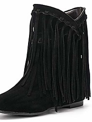 cheap -women's tassel bootie fringe hidden wedge heel ankle boots black label size 40 - us 8