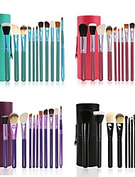 cheap -12 Pcs Cylinder Makeup Brush Beauty Tools Wool Makeup Brush Set Cylinder Animal Hair Makeup Brush Set