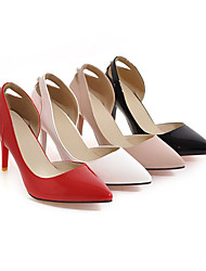 cheap -Women's Wedding Shoes Stiletto Heel Pointed Toe Classic Wedding Party & Evening Solid Colored PU Walking Shoes Almond / White / Black