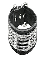 "cheap -dogcollar-mb rhinestones dog collar-bling soft genuine padded leather made sparkly crystal diamonds studded -perfect for pet show and daily walking 12-15"", black, 11-14.5""(16.5"")"