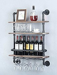 cheap -industrial pipe shelf wine rack wall mounted with 5 stem glass holder,24in real wood shelves kitchen wall shelf unit,3-tiers rustic floating bar shelves wine shelf,steam punk pipe shelving glass rack