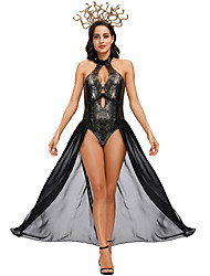 cheap -Roman Costumes Dress Cosplay Costume Adults' Women's Hot Sexy Halloween Festival / Holiday Polyester Black Women's Easy Carnival Costumes / Headwear