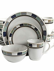 cheap -casa blanca round reactive glaze stoneware dinnerware set, service for 4 (16pcs), white/blue