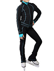 cheap -Figure Skating Jacket with Pants Women's Girls' Ice Skating Pants / Trousers Top Black Stretchy Training Skating Wear Warm Classic Long Sleeve Ice Skating Winter Sports Figure Skating / Kids
