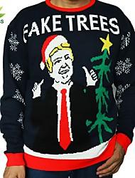 رخيصةأون -S / M / L أسود رقبة عالية مدورة الشتاء الاكريليك وألياف, سترة الطائر جاكيت صوف عادي طبيعي كم طويل أحرف عيد الميلاد رجالي