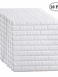 cheap -10pc 3d wall sticker self-adhesive wall panels waterproof pe foam white wallpaper for living room tv wall and home decor (brick 10 pack - 58 sq ft)