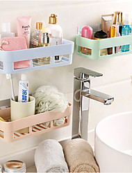 cheap -Punch-free Bathroom Shelf Plastic Toilet Bathroom Vanity Wall Hanging Storage Rack Basket No Trace Stickers