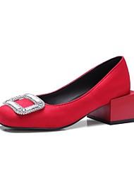 cheap -Women's Heels Block Heel Square Toe Classic Daily Nubuck Rhinestone Solid Colored Black Yellow Red