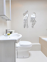 cheap -3D Wall Stickers Mirror Wall Stickers Toilet Decorative Wall Stickers, Acrylic Home Decoration Wall Decal Wall Decoration 1pc 11*17cm Wall Stickers for bedroom living room