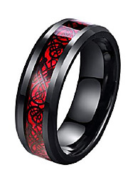 cheap -8mm red carbon fiber black celtic dragon ring for men beveled edges wedding band (13)