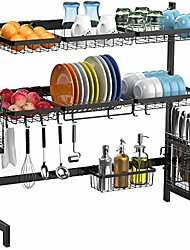 cheap -over the sink dish drying rack,  2 tier dish drainer shelf stainless steel dish rack with utensils holder for kitchen counter