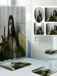 cheap -Halloween Blood Handprint Weird Pattern Printing Bathroom Shower Curtain Leisure Toilet Four-Piece Design