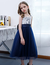 cheap -A-Line Jewel Neck Ankle Length Lace / Tulle Junior Bridesmaid Dress with Bow(s) / Pleats / Appliques