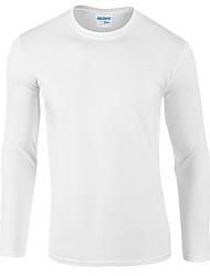cheap -Men's Date T-shirt Solid Color Long Sleeve Tops 100% Cotton Round Neck White Black Red / Fall
