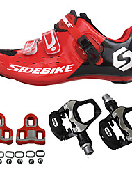 cheap -SIDEBIKE Adults' Cycling Shoes With Pedals & Cleats Road Bike Shoes Carbon Fiber Cushioning Cycling Red Men's Cycling Shoes / Breathable Mesh