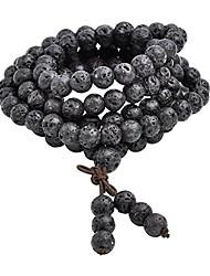 cheap -8mm natural lava rock stone healing gemstone 108 prayer beads mala bracelet necklace