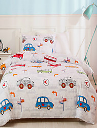 cheap -Cars and Bus Print US Twin 2 Pieces Bedding Set Duvet Cover Set Comforter Cover Ultra Soft Hypoallergenic Microfiber and Easy Care For Kid's Room(Include 1 Duvet Cover and 1 Pillowcases)