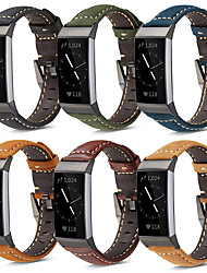 cheap -1 Pcs Watch Band For Fitbit Charge 4 Genuine Leather Band Strap Bracelet Wristband with Metal Clasp for Fitbit Charge 3 /Charge 3 SE