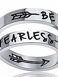 cheap -stainless steel inspirational mantra statement graduation cocktail party ring (be fearless)