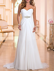 cheap -A-Line Wedding Dresses Strapless Sweep / Brush Train Chiffon Strapless Simple Backless with Crystals 2021