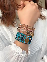 cheap -4pcs Women's Bead Bracelet Friendship Bracelet Wrap Bracelet Stacking Stackable Fashion Birthday Heart Luxury Trendy Rock Fashion Boho Acrylic Bracelet Jewelry Black / Blue / Red For Sport Gift
