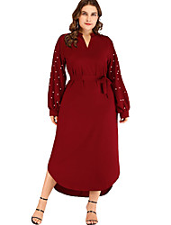 cheap -Women's A-Line Dress Maxi long Dress - Long Sleeve Solid Color Bow Ruched Patchwork Fall V Neck Plus Size Casual Slim 2020 Wine 3XL 4XL 5XL 6XL / Print