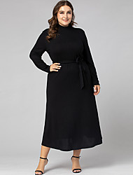 cheap -Women's Swing Dress Maxi long Dress - Long Sleeve Solid Color Ruched Fall Elegant Slim 2020 Black L XL XXL 3XL 4XL