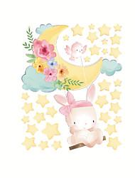 cheap -New Cartoon Stickers Stars Moon Rabbit Self Adhesive Wall Stickers Creative Children's Room Wall Decoration