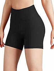 رخيصةأون -شورت يوجا نسائي قصير للتحكم في البطن للركض ، شورت يوجا رياضي غير شفاف مع جيب مخفي ، جلد فحمي ، متوسط