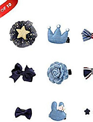 cheap -10 pcs pet dog hair clips hair bows puppy bling hair accessories with gift box (yellow)