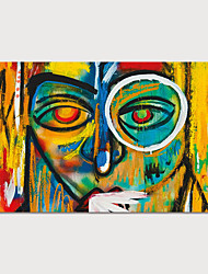 cheap -Oil Painting Hand Painted Horizontal Abstract People Modern Stretched Canvas