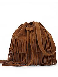 cheap -stylish fashionable womens cross-body shoulder bag faux suede fringe tassels (khaki)