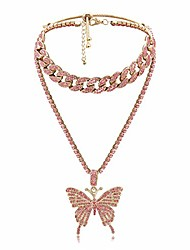 cheap -butterfly cuban link necklace set - women hip hop necklace chain iced out with bling rhinestones, fashion accessory for hip hop lovers (pink)