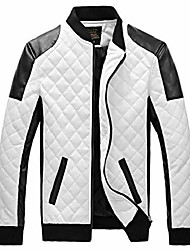 cheap -easy mens new winter faux leather coat thicken jacket 2xl white