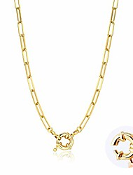 cheap -paperclip necklace,14k gold plated oval dainty choker chain link necklace for women girls