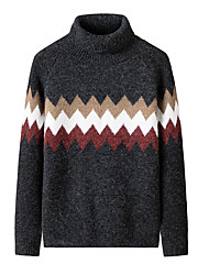 cheap -Men's Stylish Basic Oversized Knitted Color Block Pullover Acrylic Fibers Long Sleeve Sweater Cardigans Turtleneck Fall Winter Black Khaki Gray