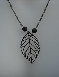 cheap -Women's Pendant Necklace Necklace Retro Leaf Simple Classic Vintage Trendy Alloy Black 48 cm Necklace Jewelry 1pc For Street Gift Birthday Party Beach Festival