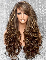 cheap -Synthetic Wig Curly Asymmetrical Wig Long Brown Synthetic Hair 26 inch Women's Classic Exquisite Fluffy Brown