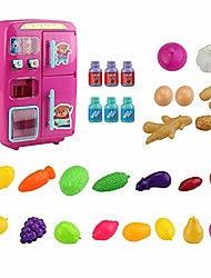 cheap -toy fridge for kids electric simulation mini toy refrigerator with door fog lighting function - toy kitchen playsets, hot pink/blue