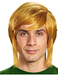 cheap -Cosplay Wig Link Curly With Bangs Wig Medium Length Blonde Synthetic Hair Men's Cosplay Exquisite Blonde